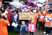 Part of the 400-strong lobby of Barnet council on Tuesday night against its savage cuts programme