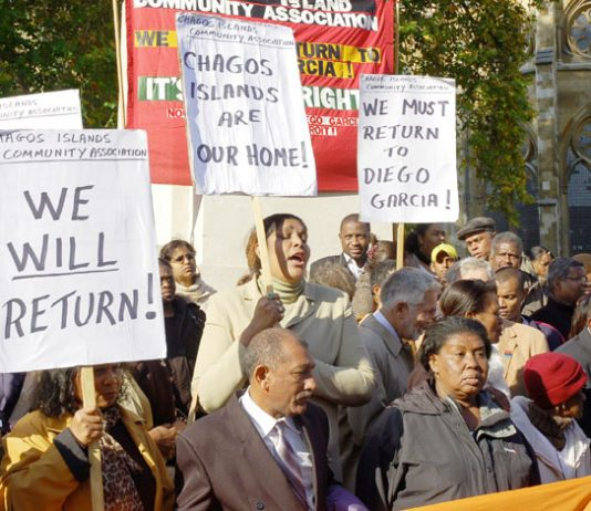 HENGRIDE PERMAL (centre) leader of the Chagos Islands Community Association lobbying the House of Lords in October 2008