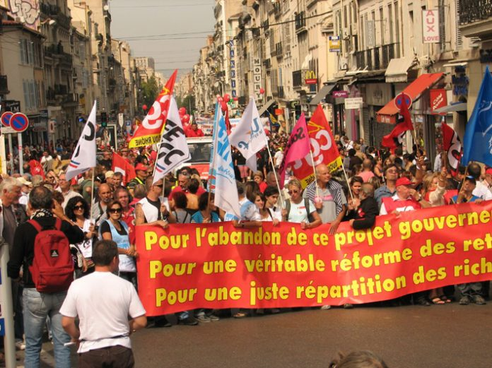 A section of the 220,000-strong crowd assembling for the march in Marseille yesterday