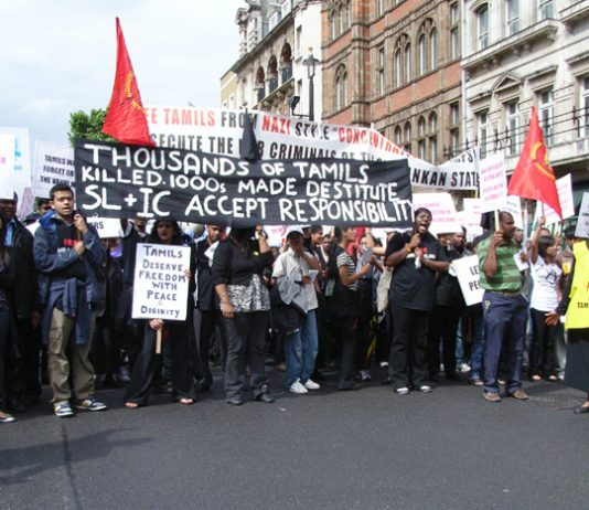 Demonstrators in London in June last year condemn the slaughter of thousands of Tamils by the Sri Lankan army