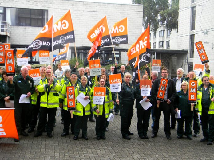 Ambulance and patient transfer crews lobby South London Healthcare NHS Trust Board yesterday morning