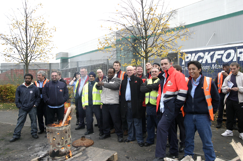 CWU pickets outside East London Mail Centre in October last year
