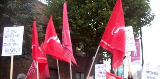 CT Plus busworkers on the picket line in East London on Friday in the second of four Friday strikes