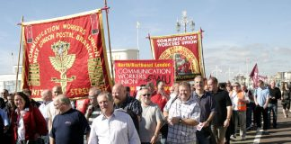 CWU members marching to lobby last year's Labour Party conference