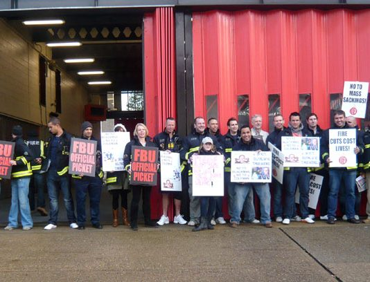 Striking firefighters out in force on the picket line at Holloway Fire Station
