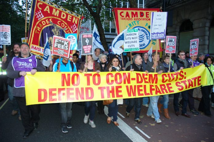 The march to defend the Welfare State last Wednesday – Miliband will support the coalition's disability benefit cuts