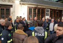 FBU General Secretary MATT WRACK speaking to firefighters outside Euston fire station at the start of their strike last Saturday