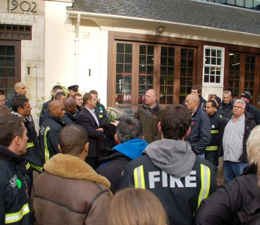FBU General Secretary MATT WRACK speaking to firefighters outside Euston fire station at the start of their strike last Saturday