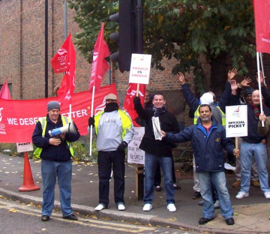 The CT Plus picket line in Hackney on their fourth Friday of strike action