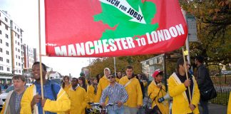 'YS March for Jobs' on its way through Rushholme, Manchester on Saturday