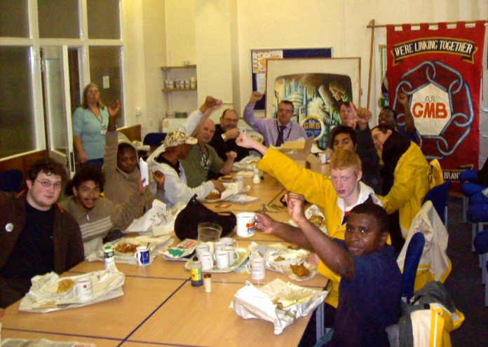 Sheffield GMB provided a smashing fish dinner and 100 per cent solidarity with the Young Socialist marchers yesterday mid-day