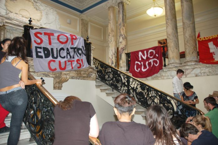 Goldsmiths students said they were fighting to stop the cuts to university funding and against the Tory-LibDem plans for £9,000 a year fees