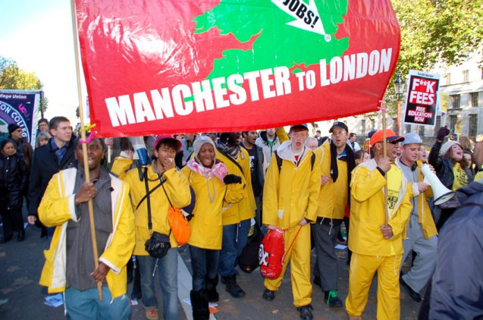'Smash fees, restore grants, bring the government down' shouted YS Manchester to London marchers, winning big support