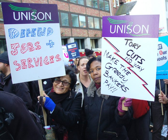 Unison members with a clear message marching on October 20