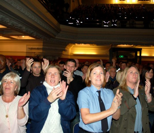 A section of the audience showing their support for the fight against cuts at Wednesday's rally