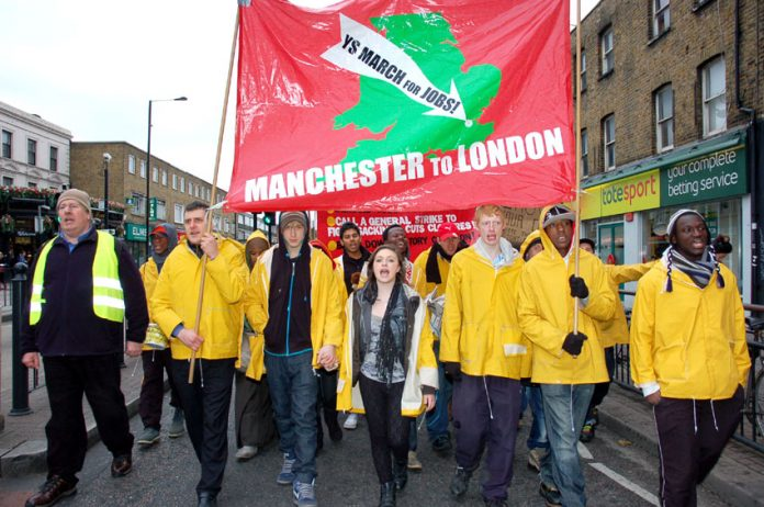 YS March for Jobs contingent led Sunday's march to the News Line Anniversary Rally in Queen Mary University in Mile End