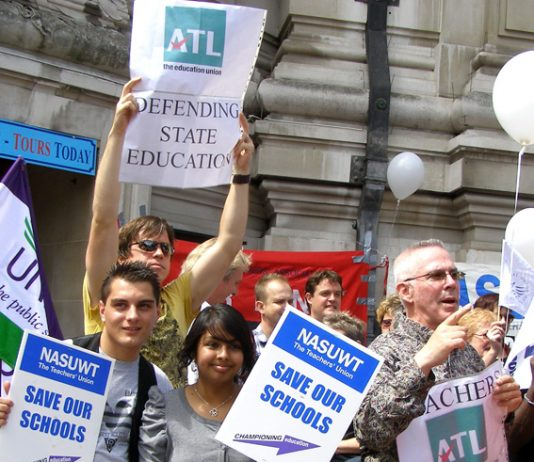 ATL and NASUWT placards at the lobby of parliament last July against education spending cuts