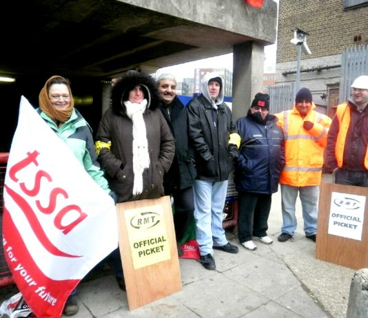 RMT and TSSA strikers on the picket line at Harrow on-the-Hill yesterday morning