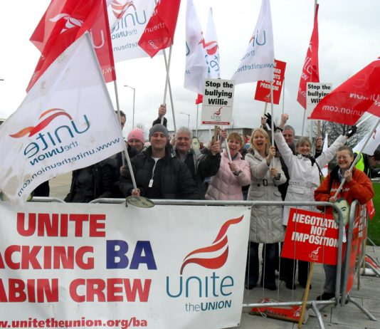 BA cabin crew in confident mood on the picket line at Heathrow last March