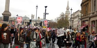 Students take their protest down Whitehall before the march began