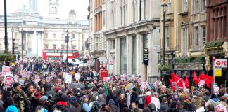 Students in Whitehall last Wednesday – are determined to prevent a massive increase in fees and to return to free state education