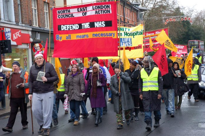 The front of Saturday's march in Enfield demanding that Chase Farm Hospital be kept open