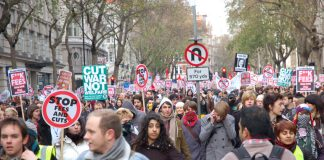 After bursting through police lines students took over the whole of Kingsway in Holborn yesterday