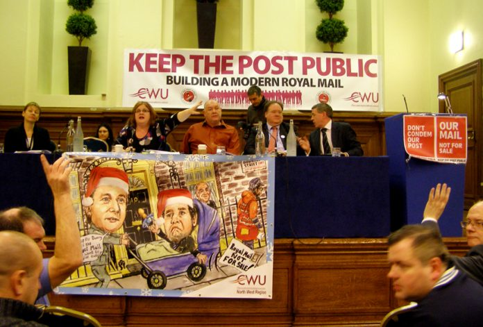 Platform of the 'Keep the Post Public' rally on Wednesday