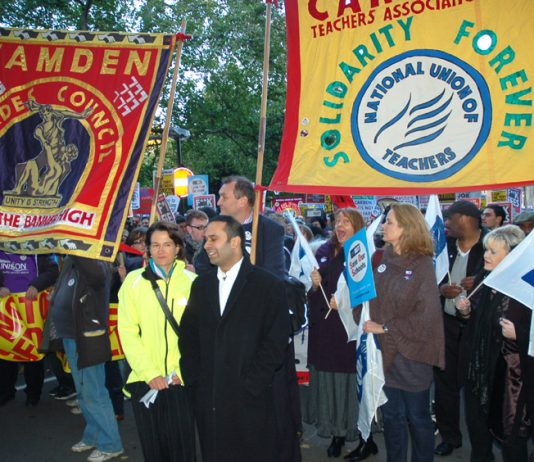 NUT banner on the October 20 demonstration against the Comprehensive Spending Review budget cuts announced in parliament that day