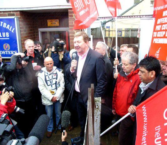 Unite leader LEN McCLUSKEY addressing striking BA cabin crew earlier this year