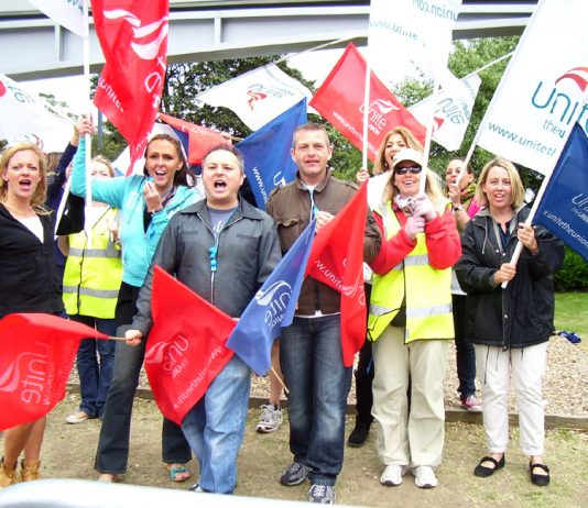 Workers demonstrate at Heathrow during strike action by the cabin crew earlier this year. A new strike ballot is under way
