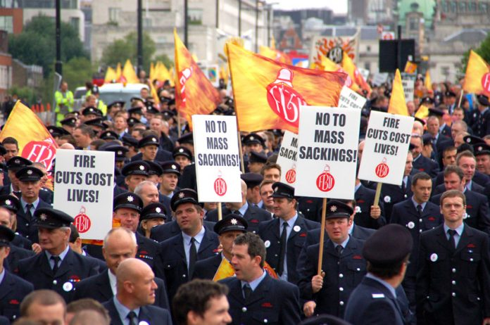 FBU demonstration in London on September 16 against fire service cuts