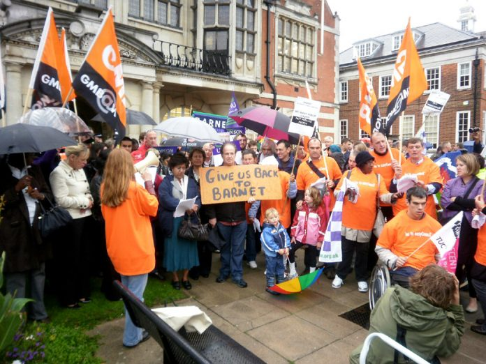 GMB members and service users lobbying Barnet Council against cuts and privatisation