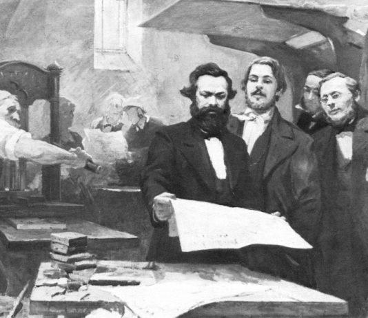 Marx and Engels in the printshop of the 'Neue Rheinishe Zeitung'