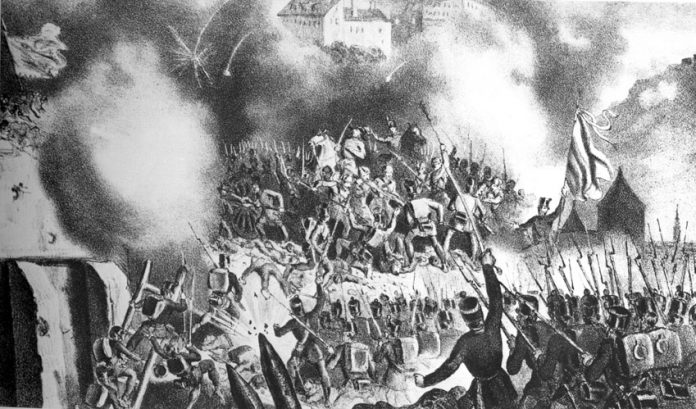 Hungarian revolutionary troops capture the bastion in Buda on May 21, 1849