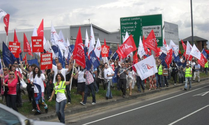 British Airways cabin crew march at Heathrow last June during their strike action in defence of jobs and conditions