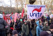 The London and Eastern Region banner of Unite on the massive student demonstration in London on December 9