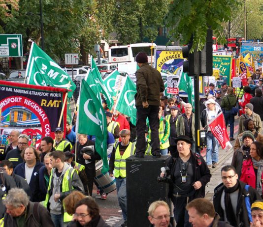 RMT-led march on October 23 to the TUC headquarters where they called for the TUC to organise action against the coalition govenment's just announced spending cuts