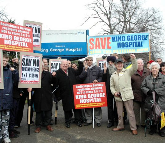 Residents rally outside King George Hospital just before their march to defend it last year