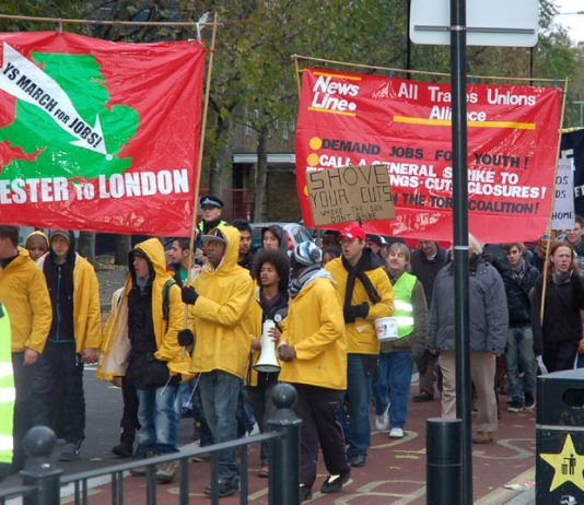 The YS March for Jobs called for a General Strike to bring down the coalition as it marched through east London on Sunday November 21
