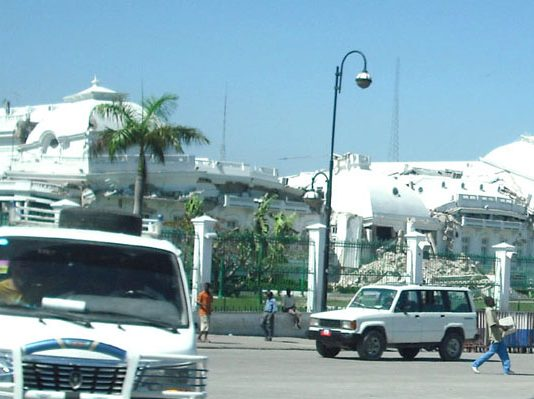 The Presidential palace in Port-Au-Prince is still in ruins