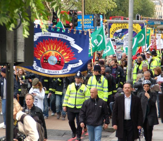 A section of the RMT demonstration to the TUC on October 23 last year demanding action against the coalition government's cuts