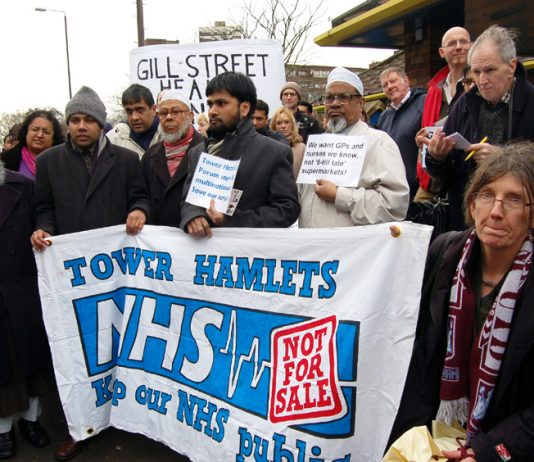 Protest in Tower Hamlets against the privatisation of GP surgeries