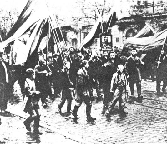 The masses march to the Winter Palace in what was then Petrograd in 1905. Troops opened fire on them beginning the 1905 revolution