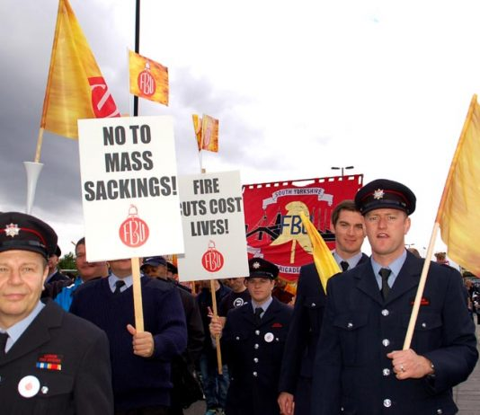 London firefighters marching in September last year in defence of their jobs