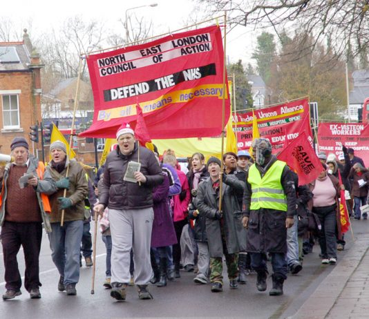 The North-East London Council of Action marching to keep Chase Farm Hospital open – Tory-LibDem coalition plans spell