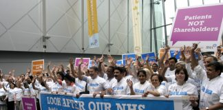 The BMA demonstrating against the privatisation of the NHS