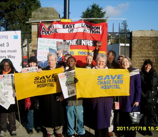The North-East London Council of Action picketing yesterday morning to keep Chase Farm Hospital open