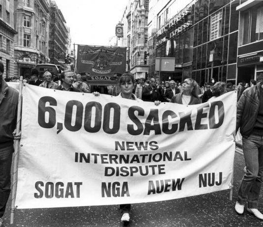 Sacked print workers marched down Fleet Street showing their determination not to be beaten by Murdoch