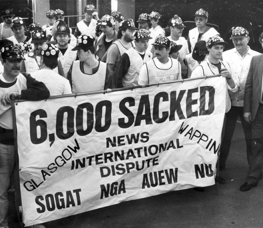 Print workers organised a march from Glasgow to London launched on April 5th, 1986 to defend their jobs